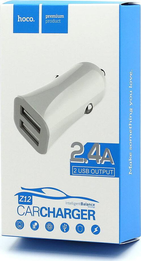 Автомобильное зарядное устройство Hoco Z12 Elite Dual USB Car Charger 2хUSB 2,4A, белое