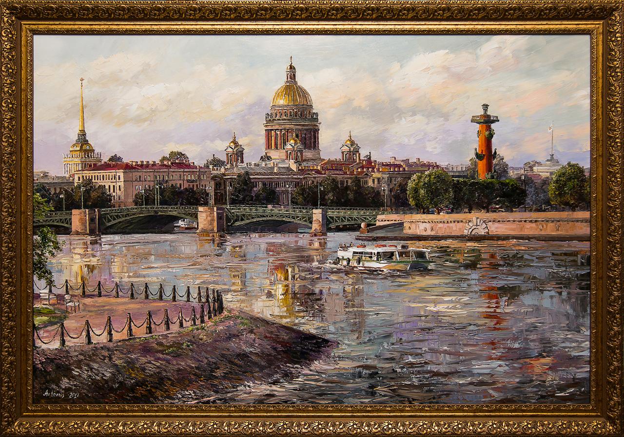 Картина маслом Санкт-Петербург. Нева Артемис картина маслом санкт петербург вид с дворцового моста ильин