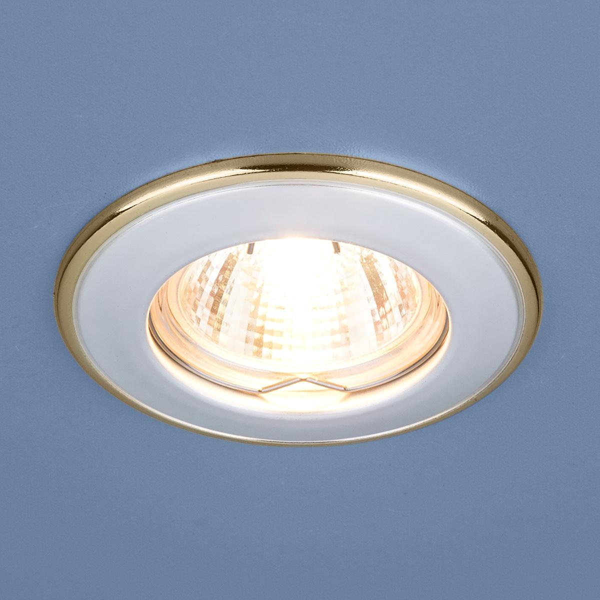 Встраиваемый светильник Elektrostandard Точечный 7002 MR16 WH/GD, G5.3 встраиваемый светильник elektrostandard 7002 mr16 wh gd белый золото 4690389082528