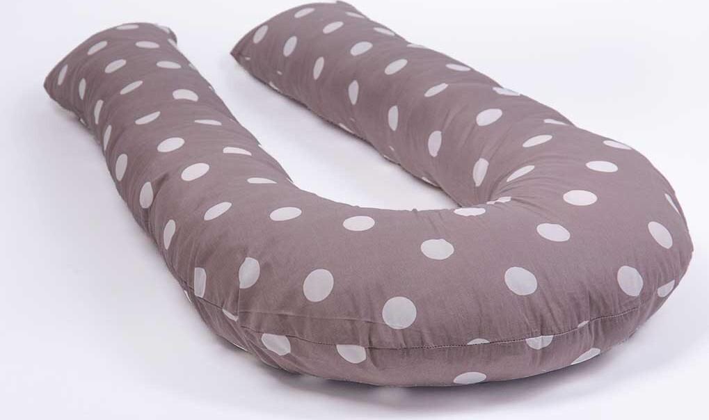 Хлопковая наволочка на подушку для беременных MommyPillow U 360 см Горох темном