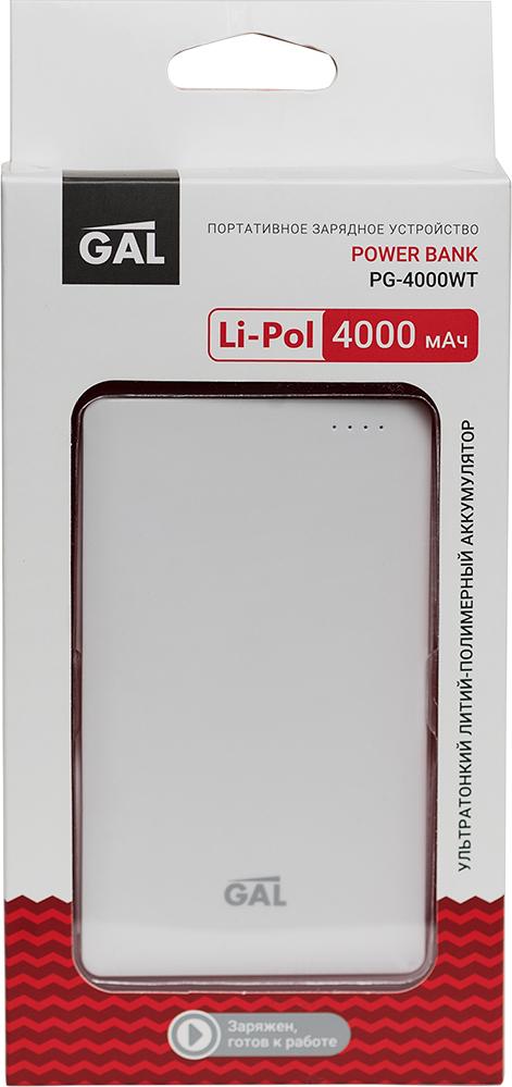 Фото - Портативное зарядное устройство GAL PG-4000WT цвет: белый кабели для телефонов