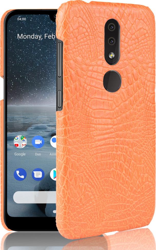 Чехол-панель Mypads для Nokia 4.2 3/32GB тонкий задний бампер на пластиковой основе с отделкой под кожу крокодила оранжевый