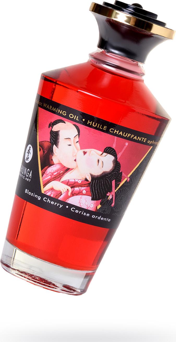 Масло для массажа Shunga Пылкая вишня, съедобное, для прелюдий и усиления удовольствия, 100 мл. цена 2017