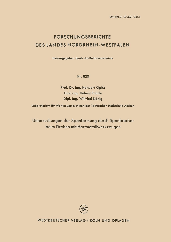Untersuchungen Der Spanformung  ...