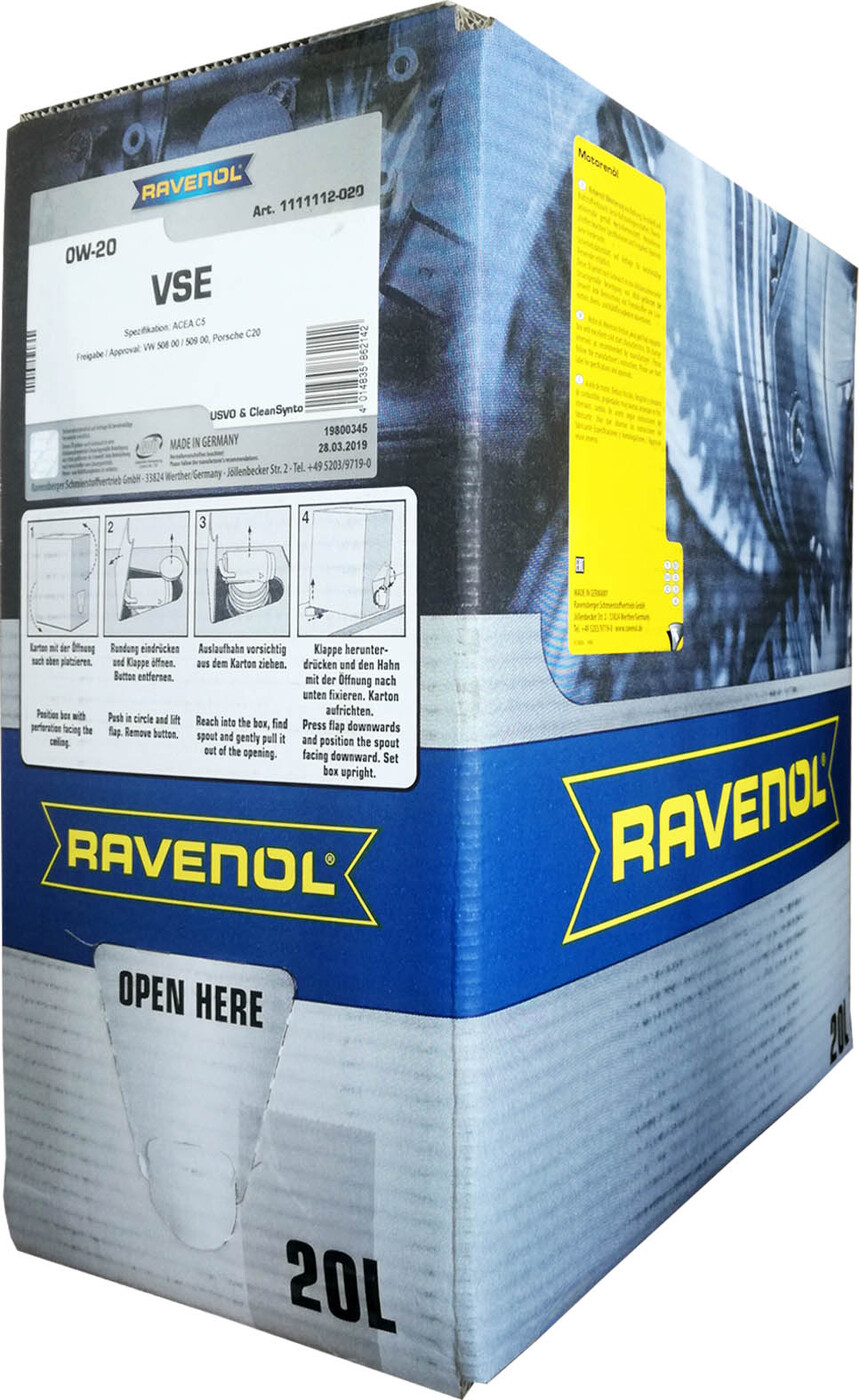 Моторное масло RAVENOL VSE SAE 0W-20 (20л) ecobox