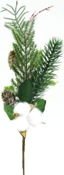 Ветка декоративная новогодняя, DN-53020, зеленый, белый, высота 36 см