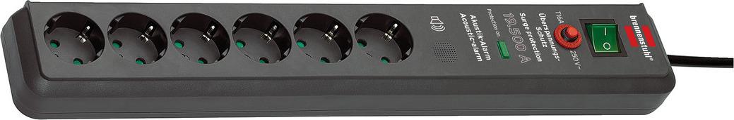 1159540376 Brennenstuhl сетевой фильтр Secure-Tec 19.500А, 3 м., 6 розеток, сигнал, черный, IP20