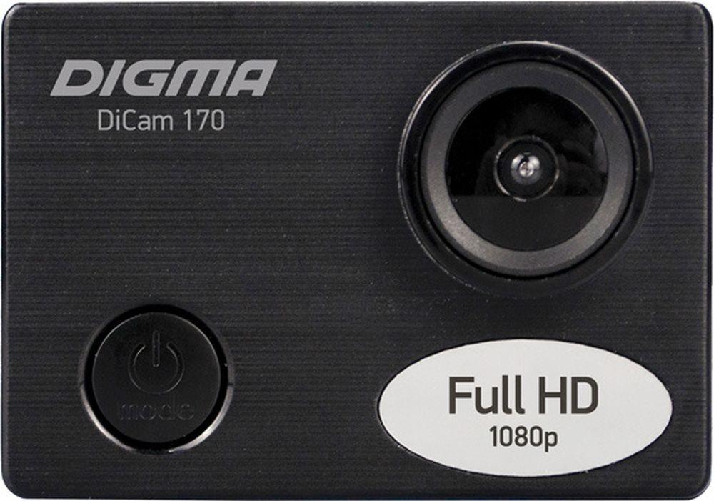 экшн-камера digma экшн-камера digma dicam 170, черный
