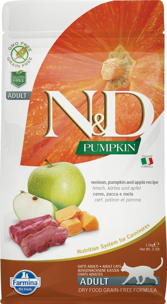 Беззерновой корм для кошек Farmina N&D GF Pumpkin Adult, c олениной, тыквой и яблоком, 300 гр