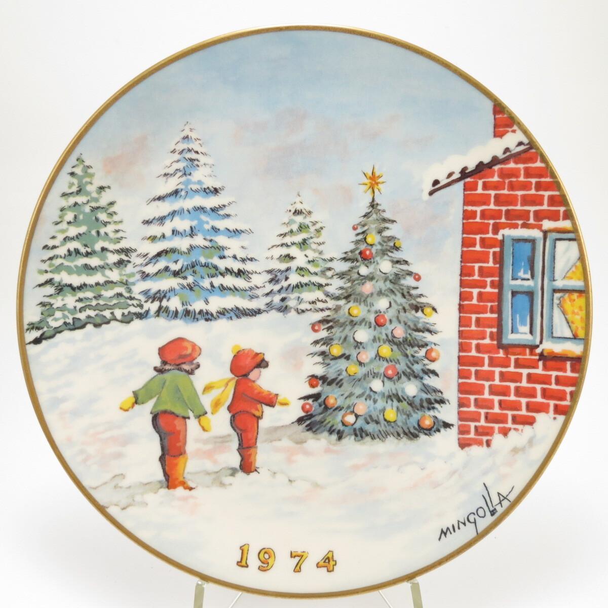 """Декоративная тарелка """"Эмали Дома Минголлы. Рождество 1974"""". Фарфор, деколь, золочение. США, Gorham, Дом Минголла, 1974"""