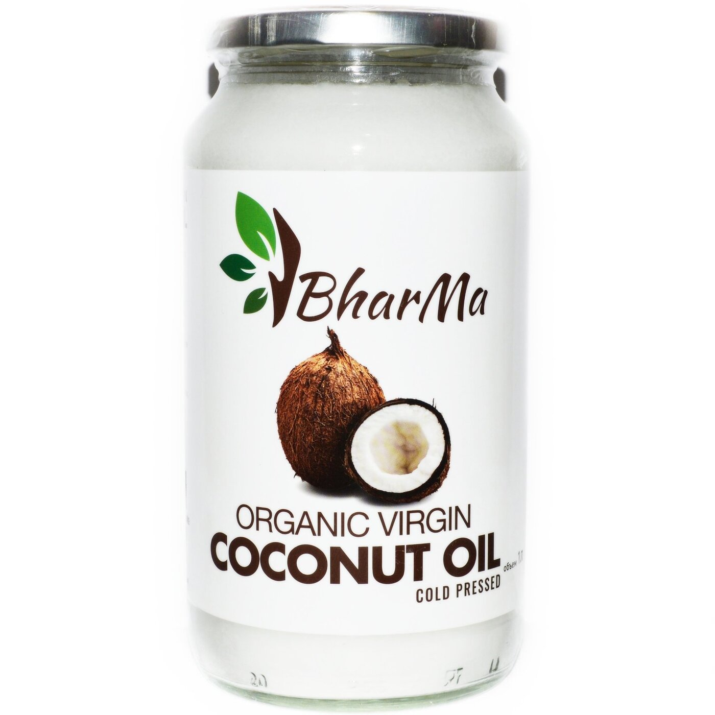 Кокосовое масло органик BharMa,100% натуральное, первый холодный отжим, нерафинированное, 1л.