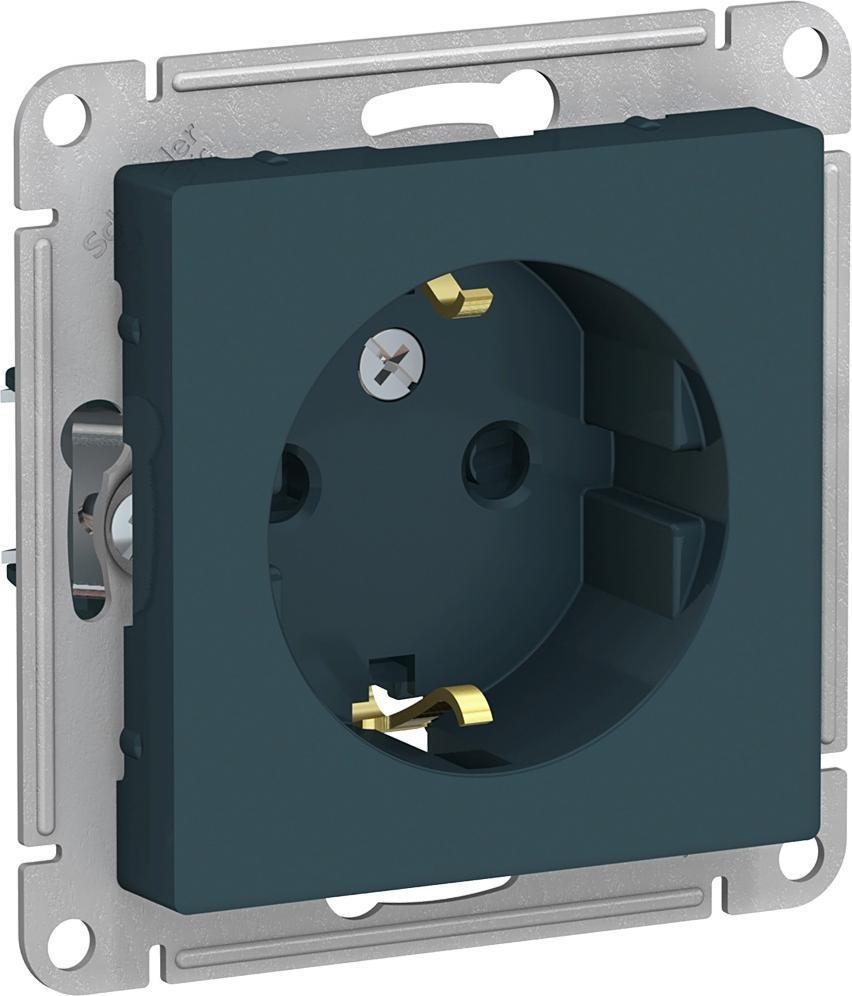 Механизм розетки Schneider Electric AtlasDesign с заземлением со шторками изумруд  #1