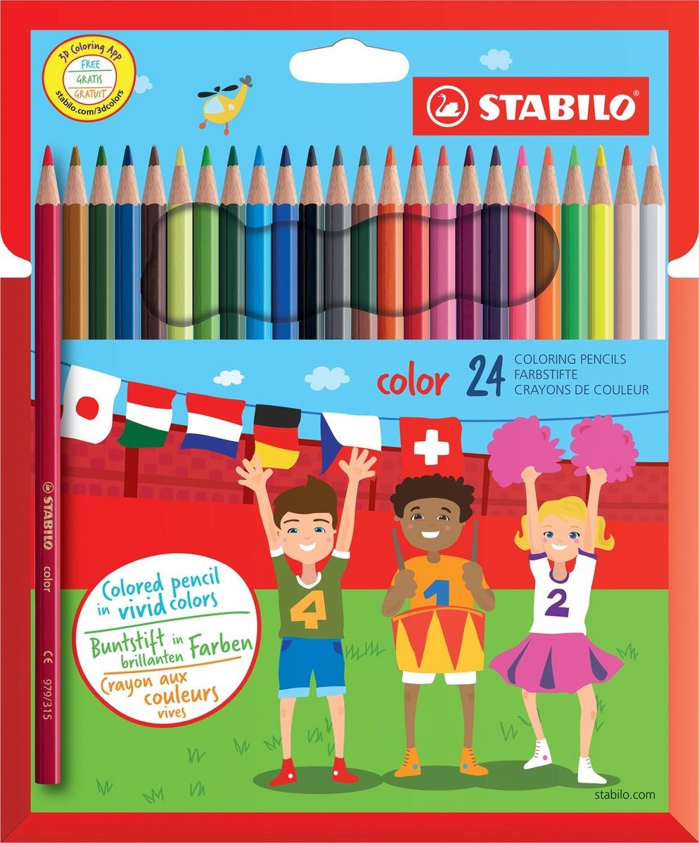 Карандаши цветные STABILO Color, 24 цвета, 20 базовых + 4 флуоресцентных  #1