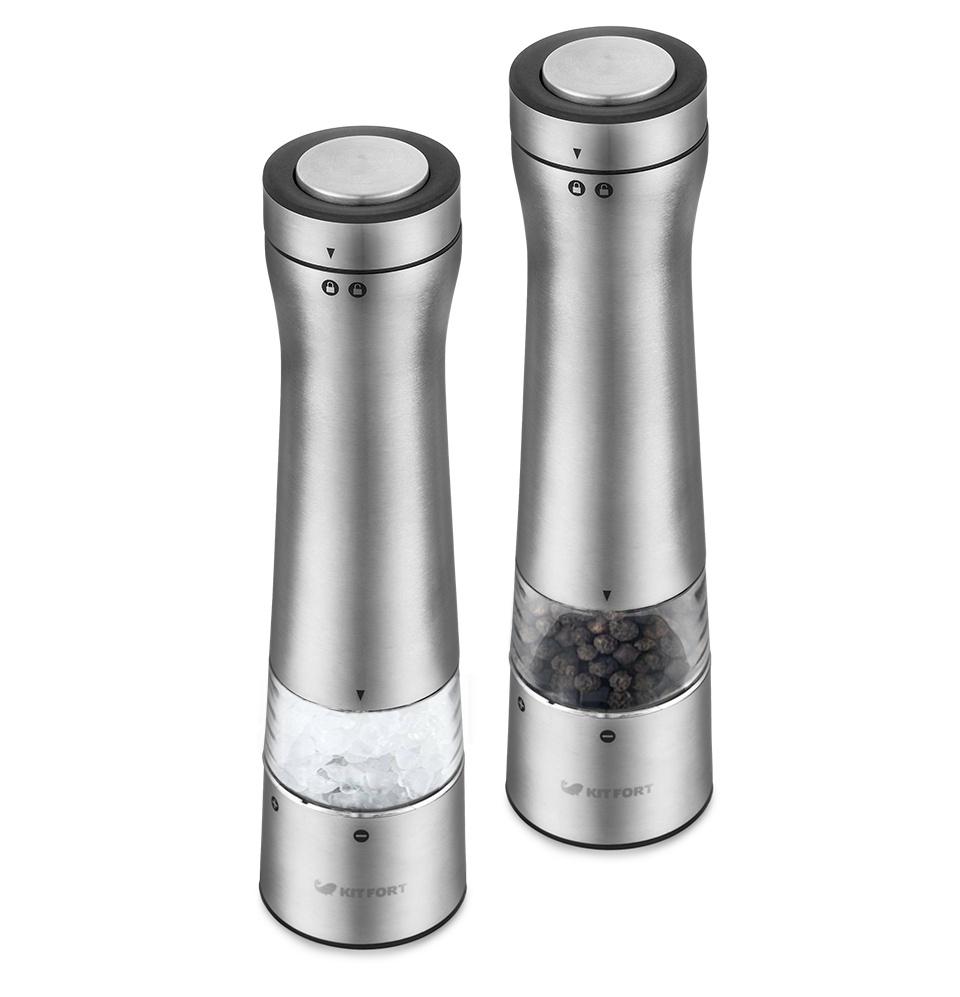 Набор автоматических мельниц для соли и перца Kitfort KT-2029, серебристый  #1