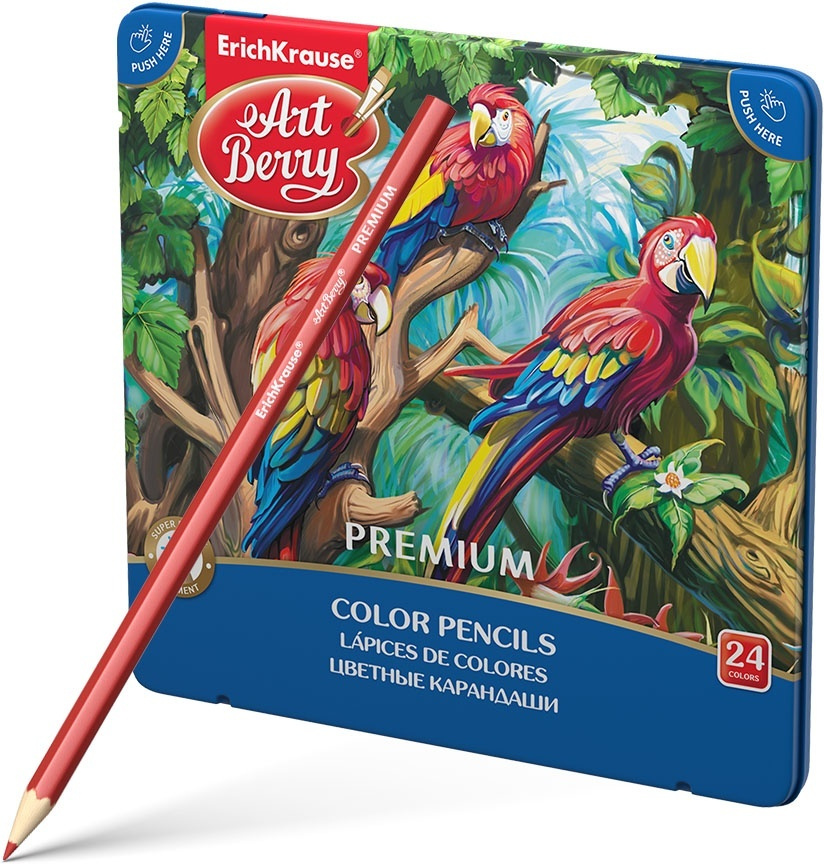 Набор цветных карандашей Erich Krause Art Berry Premium, шестигранные, металлическая коробка, 24 цвета #1