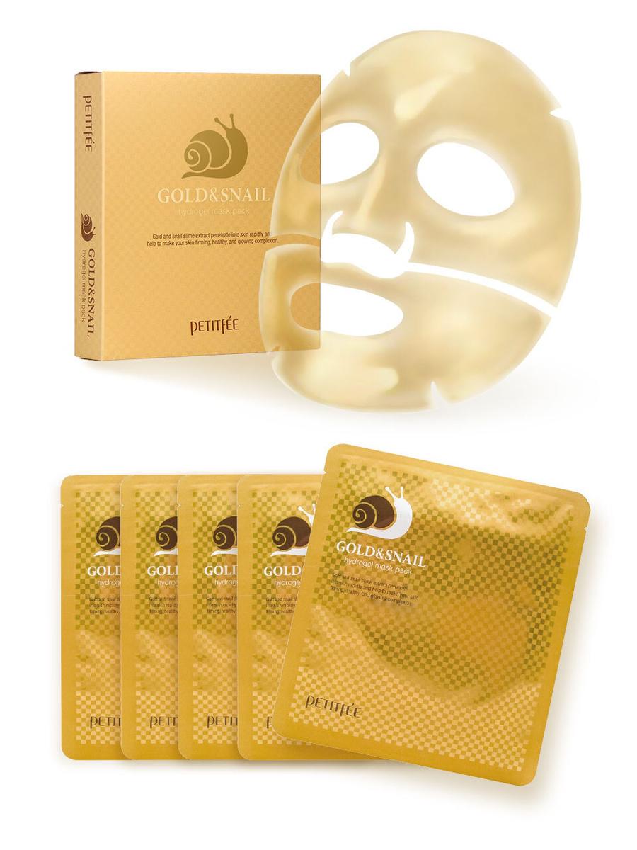 Petitfee омолаживающие гидрогелевые маски для лица с муцином улитки и частицами золота, Gold & Snail #1
