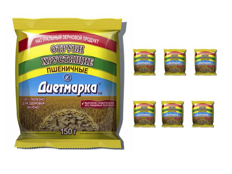 Отруби хрустящие пшеничные (хлопья) ДиетМарка, 150г х 7шт #1