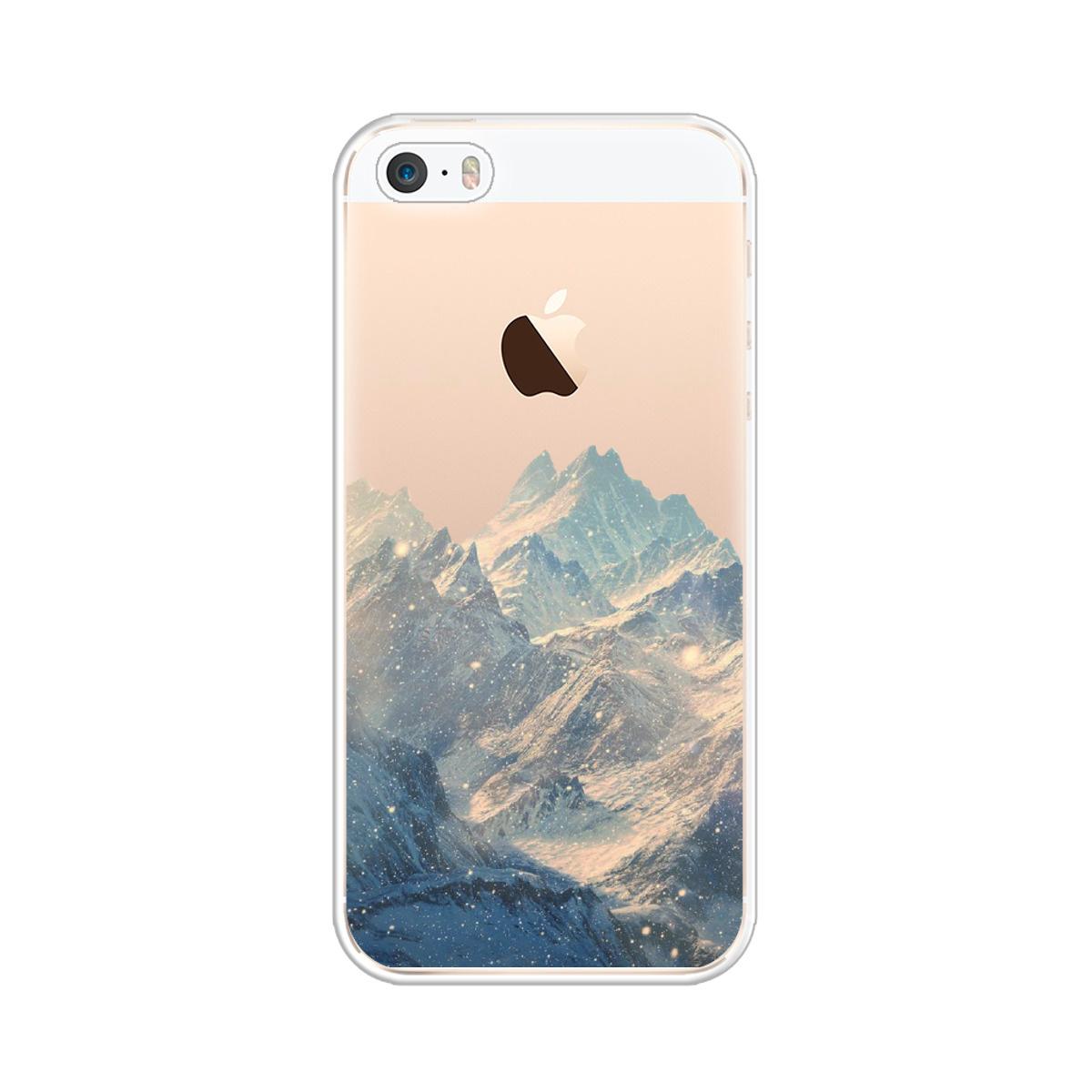 Силиконовый чехол Горы арт 2 на Apple iPhone 5/5S/SE / Айфон 5/5S/SE #1