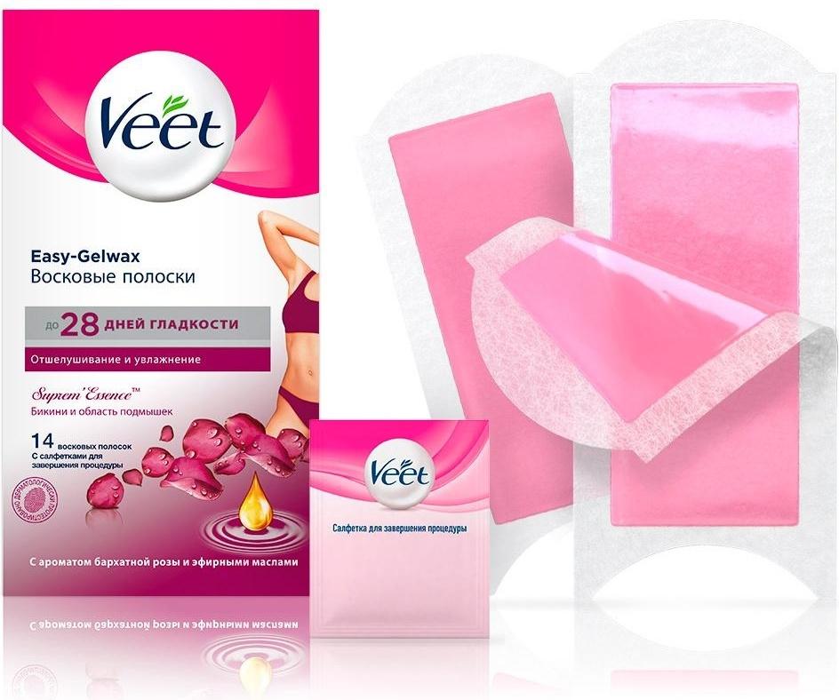 Veet Восковые полоски для линии бикини и области подмышек с ароматом бархатной розы и эфирными маслами #1