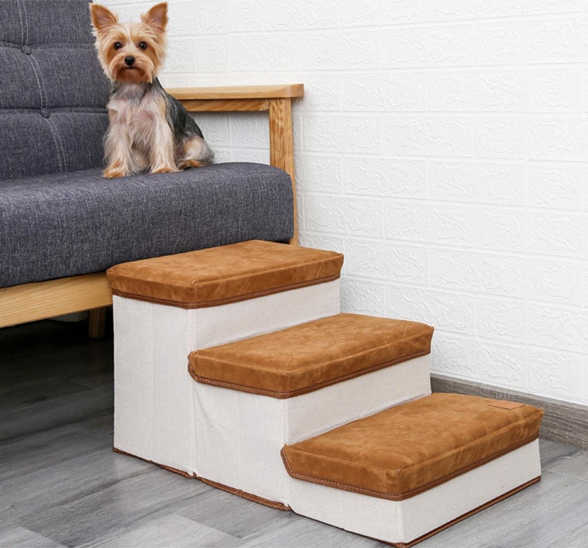 Лестница для собак прикроватная, складываемая, с отсеками для хранения  #1