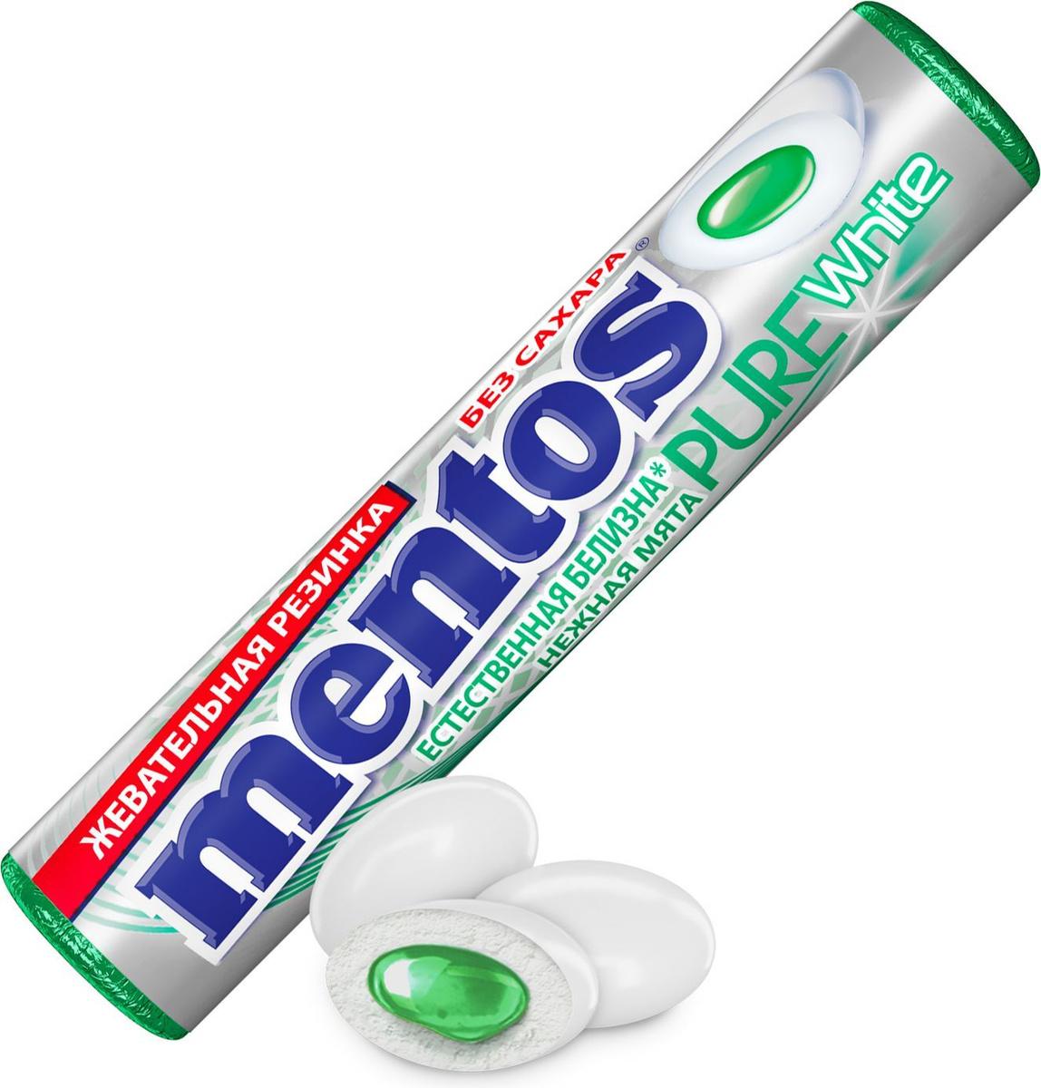 Жевательная резинка Mentos Pure White Нежная мята, 15,5 г #1