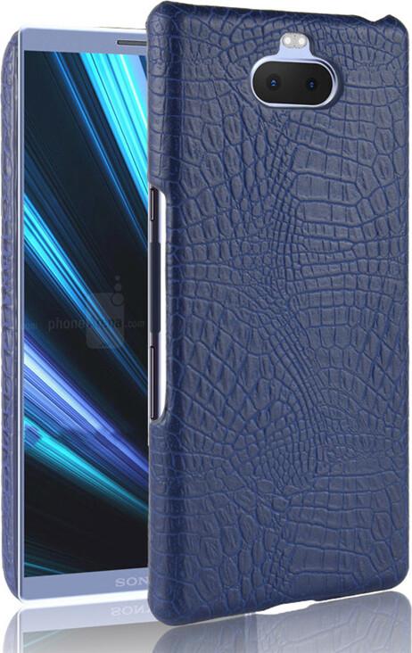 Чехол-панель Mypads для Sony Xperia 10 Plus тонкий задний бампер на пластиковой основе с отделкой под кожу крокодила синий