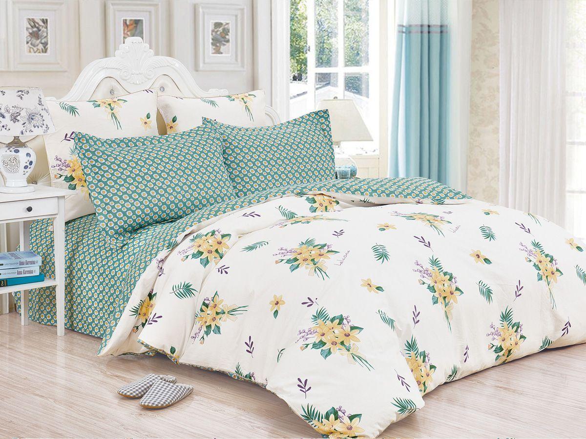 Комплект постельного белья Cleo Satin de' Luxe Маратея, 20/534-SK, белый, зеленый, 2-спальный, наволочки 70x70