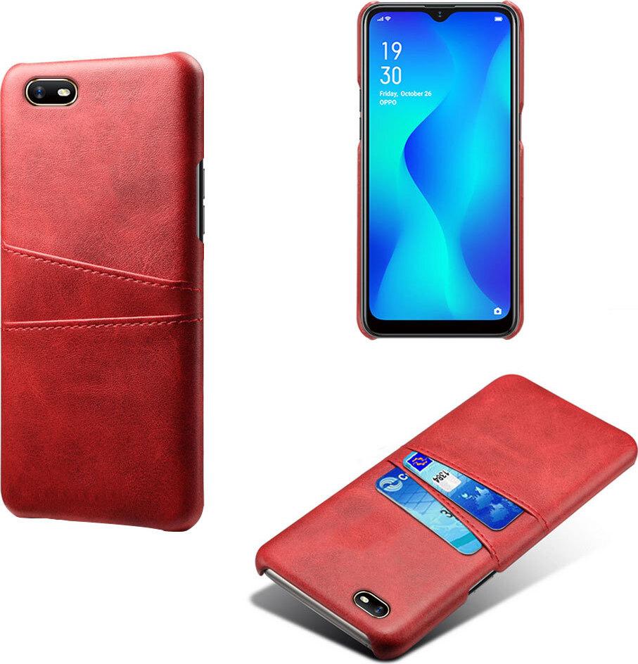 Чехол панель-накладка MyPads для OPPO A1k / realme C2 2/16GB из качественной импортной кожи с визитницей с отделением для банковских карт мужской женский красный