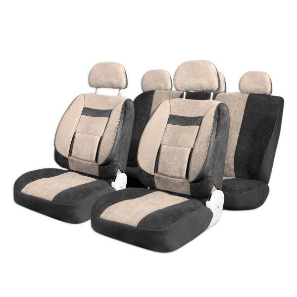 Чехлы автомобильные SKYWAY Protect Plus - 1 велюр/сетка 11 предметов черно/бежевый