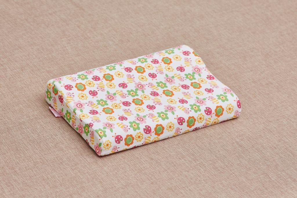 Детская анатомическая подушка от 3 лет ComfortExpert 40*26*7/5 с валиком для девочки (Ромашки)