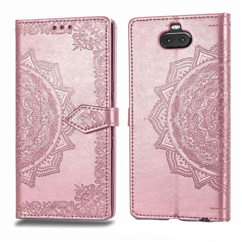 Чехол-книжка MyPads для Sony Xperia 10 Plus розовый с красивыми загадочными узорами женский детский прикольный необычный