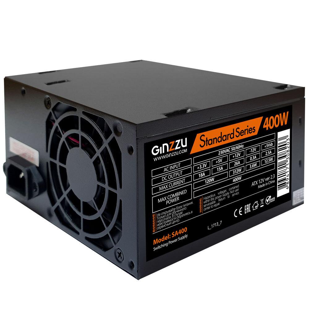 Блок питания  Ginzzu SA400 ATX, 8cm fan, 20+4pin +4Pin, 2*SATA, 2*IDE Черный #1
