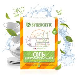 Соль для посудомоечных машин SYNERGETIC, высокой степени очистки природного происхождения, 750 г