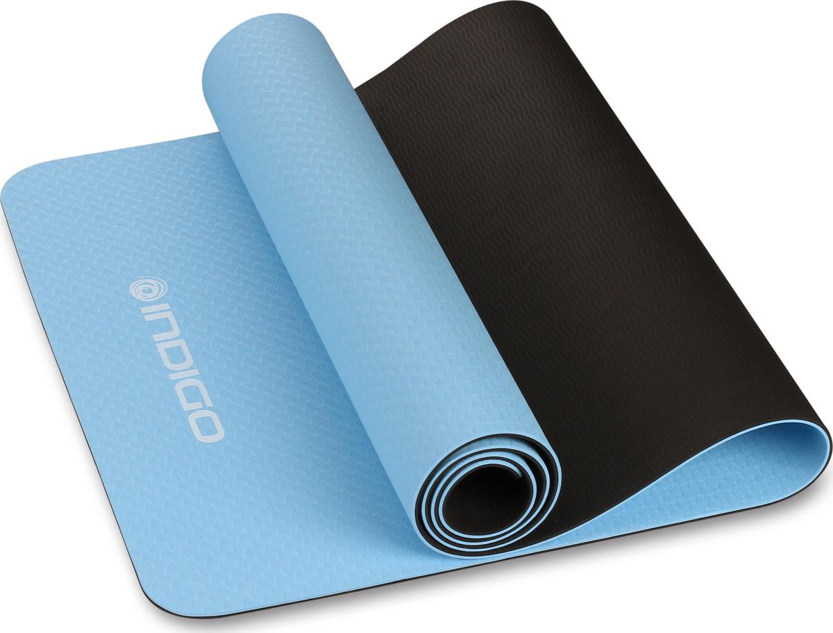 Коврик для йоги и фитнеса Indigo IN106, голубой, черный, 173 х 61 х 0,5 см
