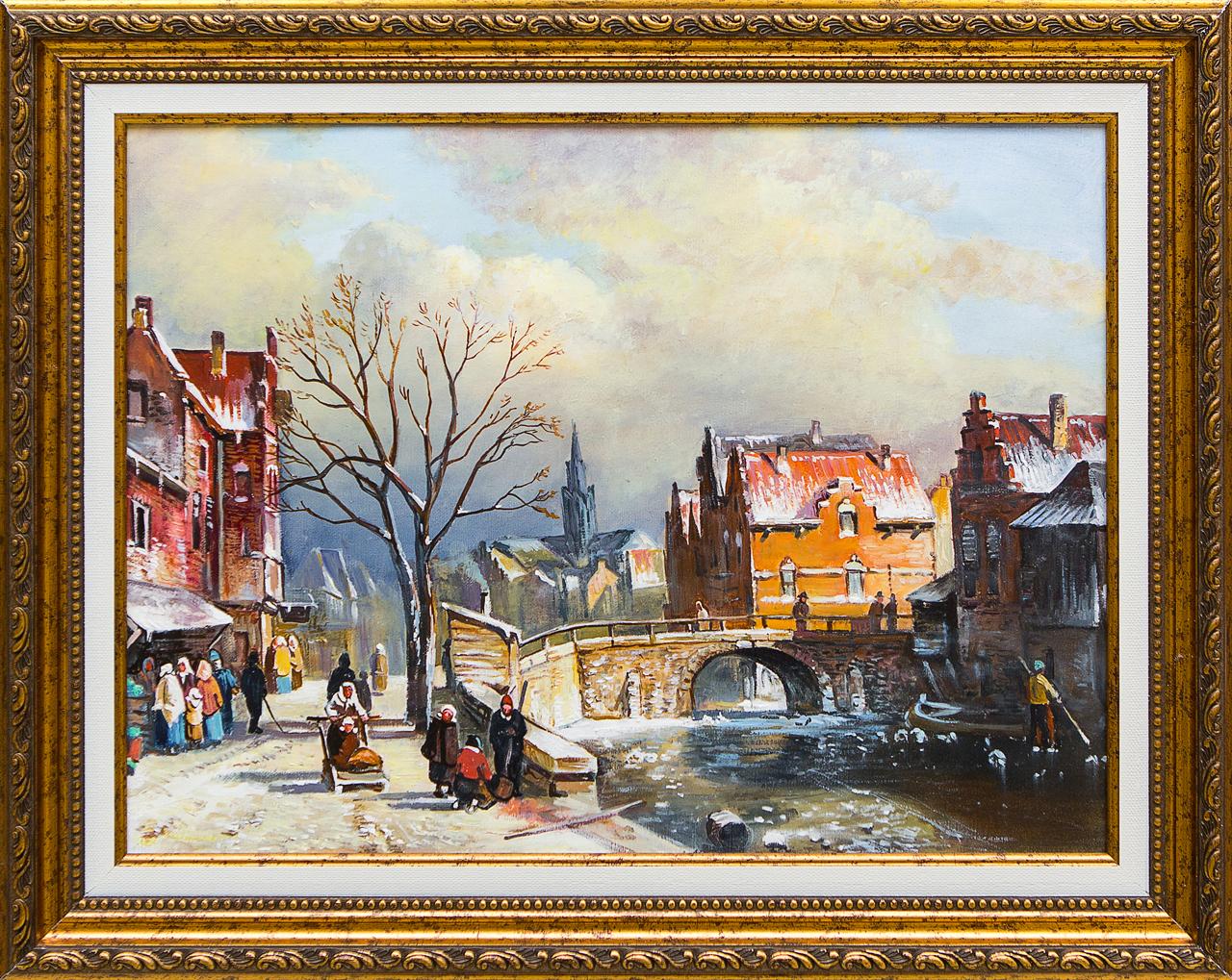 Картина маслом Голландский городской пейзаж Воробьёв картина маслом гуляки воробьёв