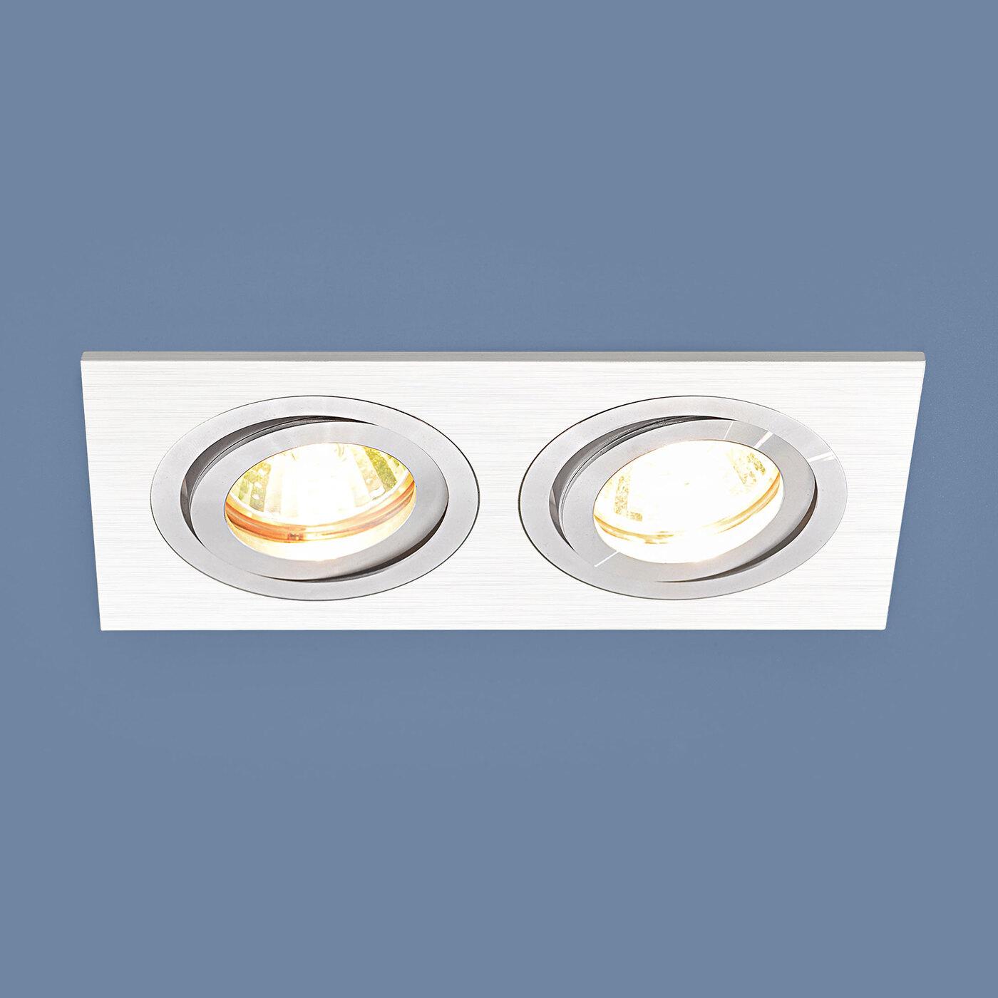 Встраиваемый светильник Elektrostandard Точечный с белой шлифованной поверхностью 1051/2 WH, G5.3 fede fd1005cop квадратный точечный светильникиз латуни золото с белой патиной