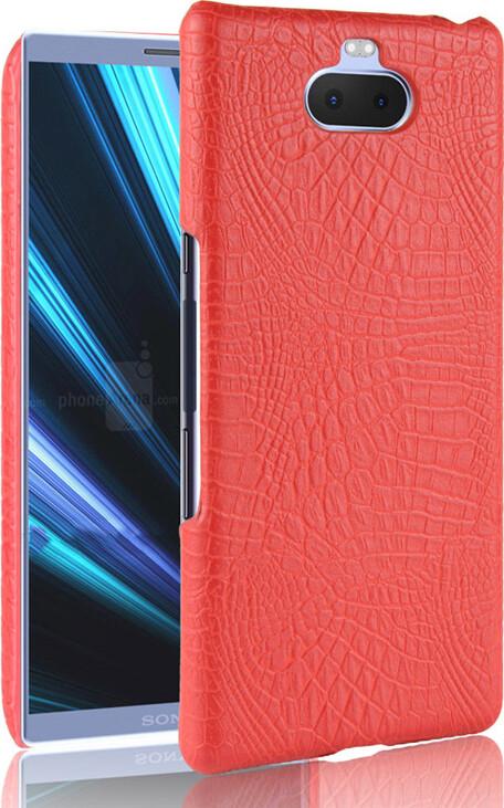 Чехол-панель Mypads для Sony Xperia 10 Plus тонкий задний бампер на пластиковой основе с отделкой под кожу крокодила красный