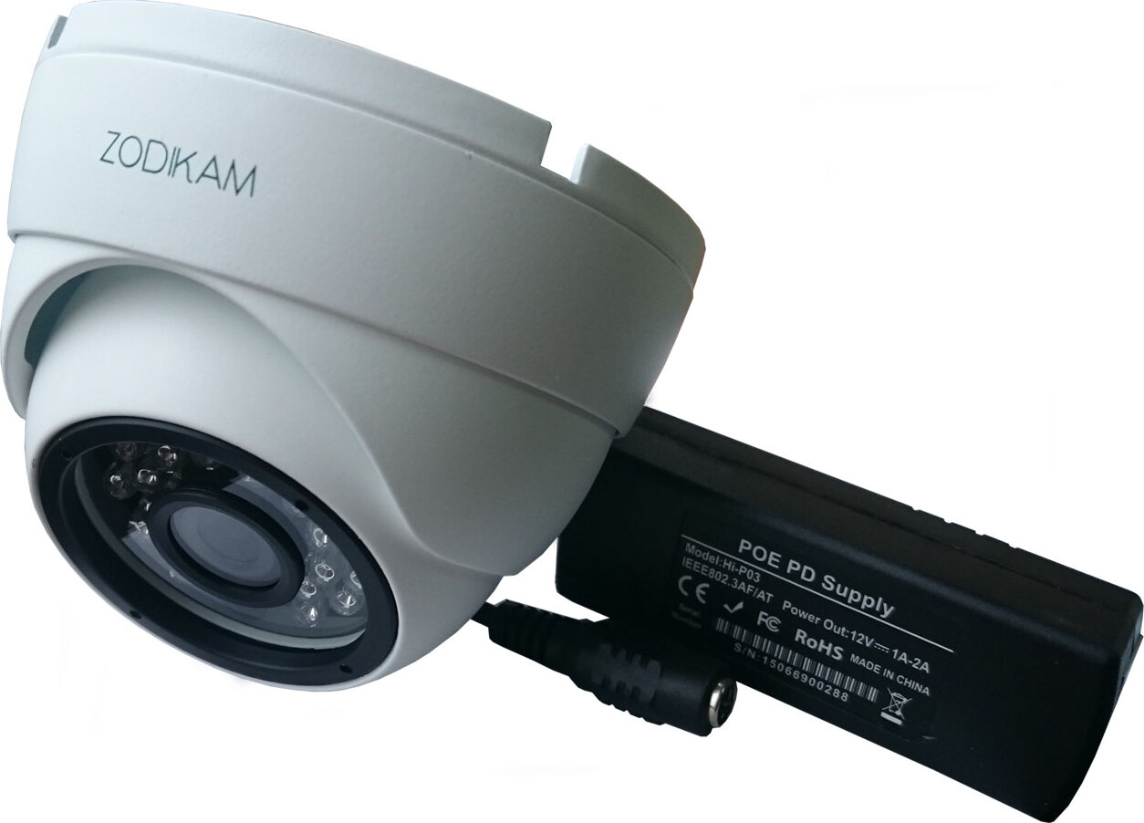 Купольная IP камера Zodikam 3242-P (2.8 mm) (2МП, POE, Купольная, P2P, Onvif, IP66, ИК)
