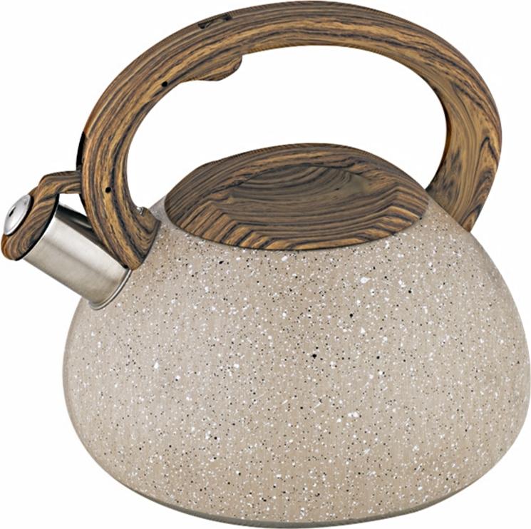 Чайник Alpenkok со свистком 3 литра бежевый гранит, ручка светлое дерево