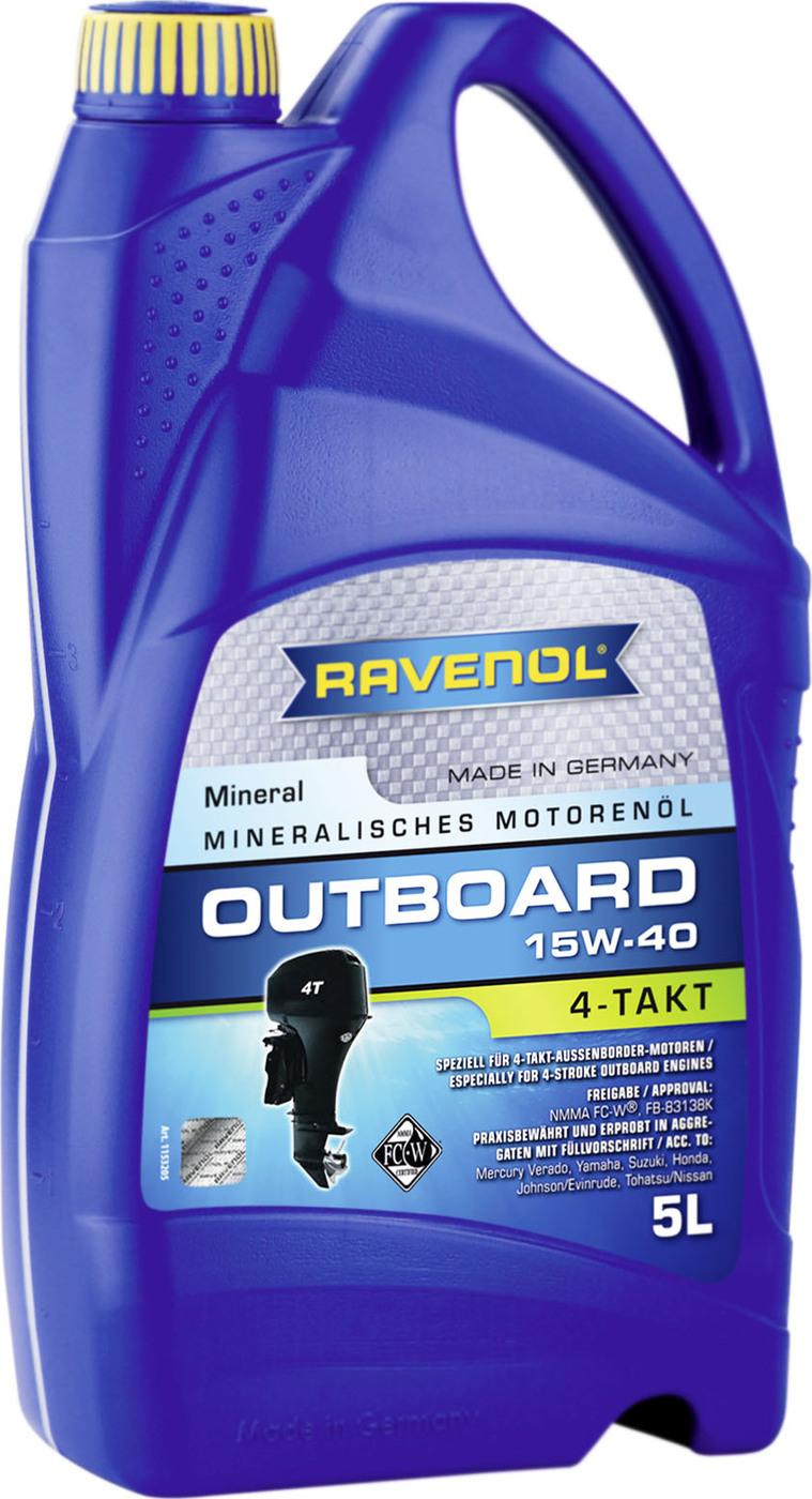 Моторное масло для 4-T лодочных моторов RAVENOL Outboardoel 4T SAE 15W-40 (5л) new