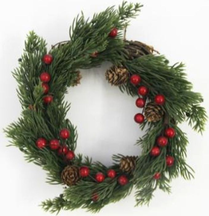 Венок новогодний, DN-53054, зеленый, красный, диаметр 25 см