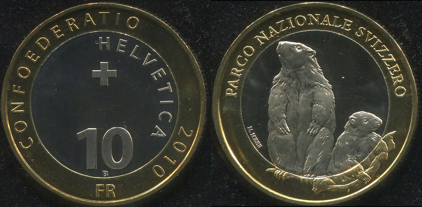 Монета. Швейцария 10 франков. 2010 (Биметалл. KM.134. Unc) Сурок