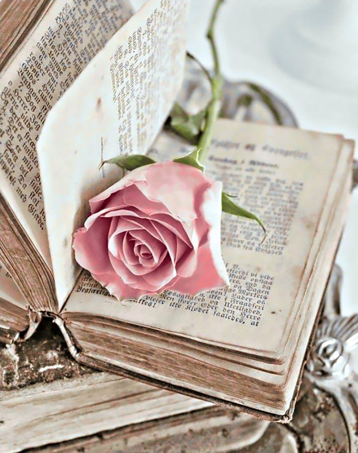 Днем, открытка с днем рождения книга и цветы