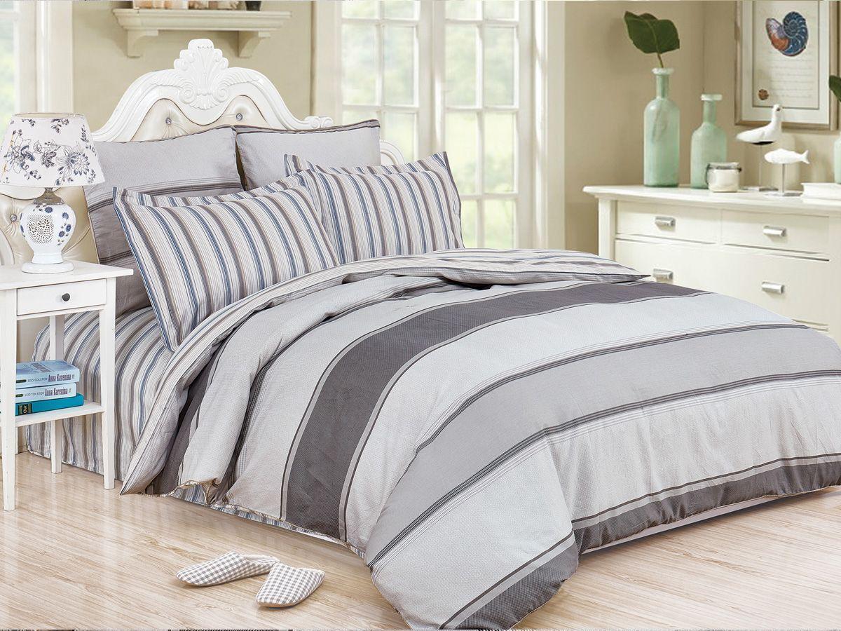 Комплект постельного белья Cleo Satin de' Luxe Мерате, 20/518-SK, серый, 2-спальный, наволочки 70x70
