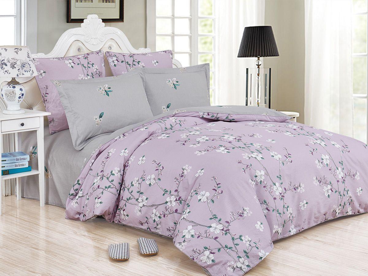 Комплект постельного белья Cleo Satin de' Luxe Сериате, 20/535-SK, сиреневый, серый, 2-спальный, наволочки 70x70
