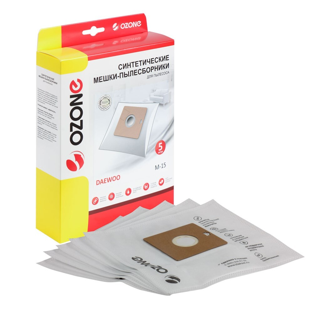 Мешки-пылесборники Ozone синтетические 5 шт для пылесоса DAEWOO RC-2500