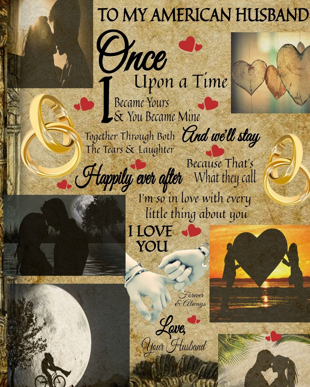Scarlette Heart. To My American Husband Once Upon A Time I Became Yours & You Became Mine And We'll Stay Together Through Both The Tears & Laughter. 20th Anniversary Gifts For Husband - Once Upon A Time Journal - Paperback Black Lined Composition Notebook & Journa...