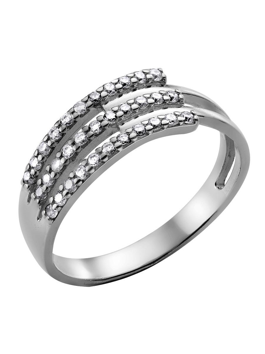 Сорокин Кольцо серебро 925 родированное с фианитами белого цвета