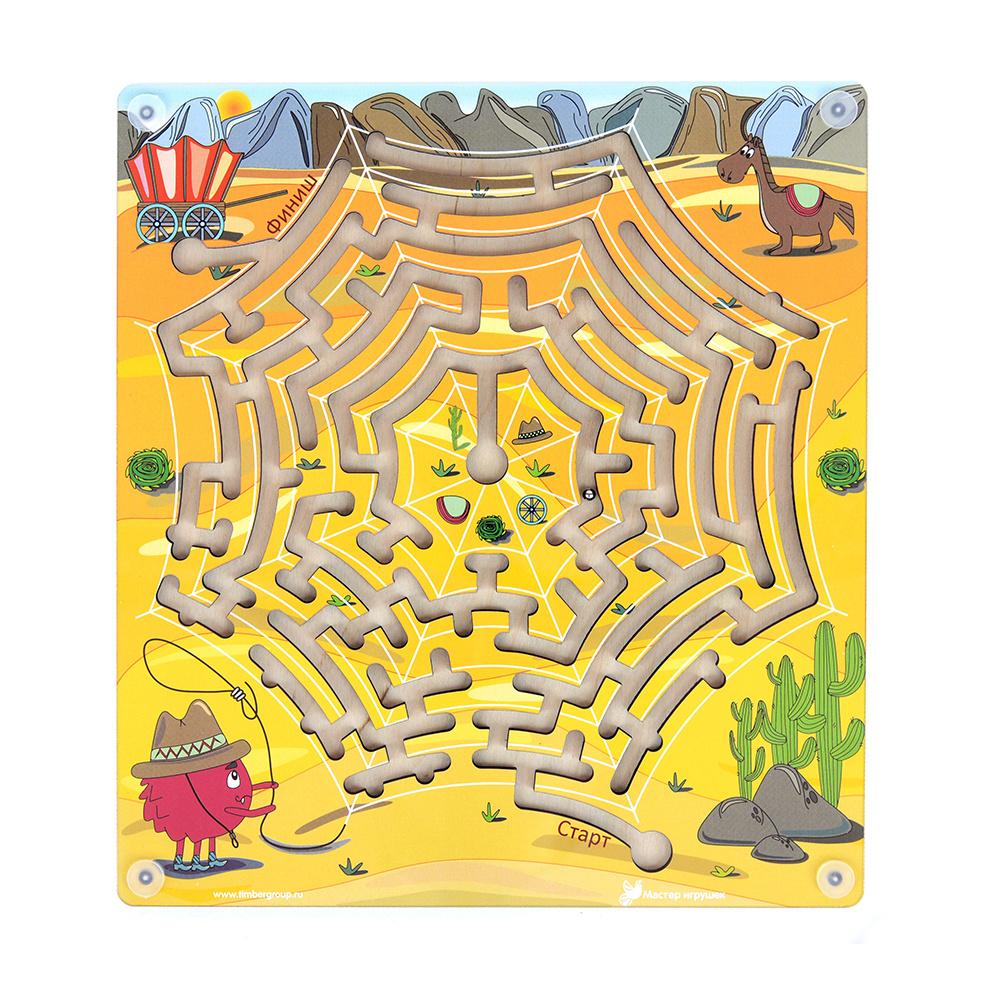 Лабиринт с шариком Техас деревянная развивающая логическая игрушка головоломка, от 2 х лет, 20 х 22 см, #1