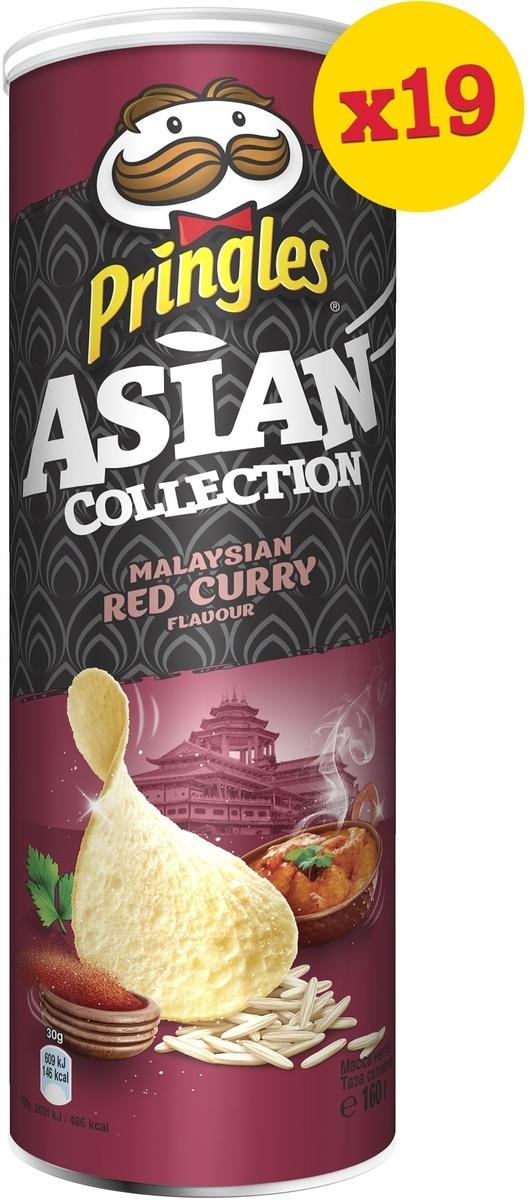 Чипсы Pringles Asian Collection, рисовые, со вкусом малазийского красного карри, 19 шт по 160 г  #1
